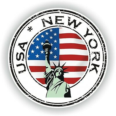 USA New York Etats-Unis Timbre autocollant rond Voiture Pare-choc Laptop