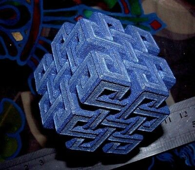 Precious Knot cube sculpture, 3Dprint ornament. Sparkly blue alumide and acrylic