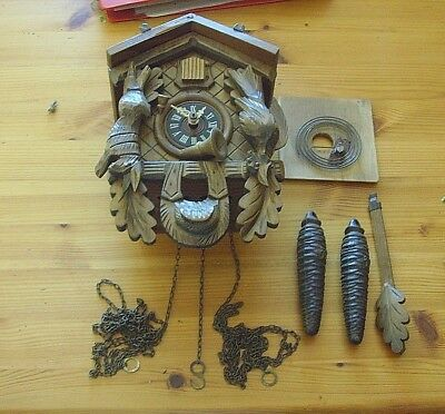 Vintage West German Wooden  Cuckoo Clock Spares Or Repair