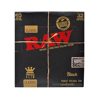 RAW Classic Black King Size Slim Unbleached Rolling Papers 50 Packs (1 Box) UK