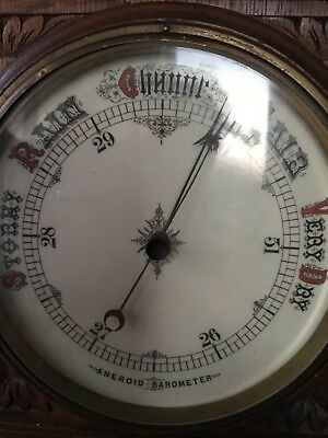 Arts and Crafts Large Victorian oak cased aneroid barometer bevelled glass