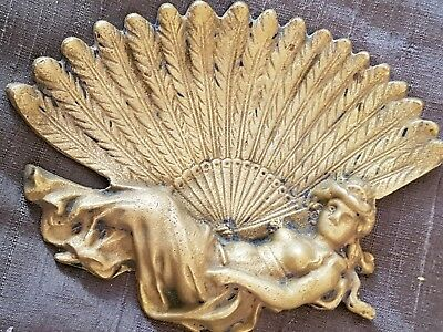 ANTIQUE Brass Pin Dish  Art Nouveau Feather AND SEMI RECLINING LADY