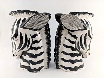 """Fitz and Floyd Zebra Bookends Statue Figurines Home Decor Matched Pair 6-1/2"""""""