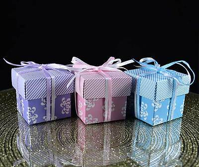 Beautiful Square Floral Vintage Favour Boxes, Wedding, Party, Gift Box, and Lids