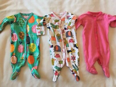 Next 3 Pack Girls Babygrows, Up To 1 Month