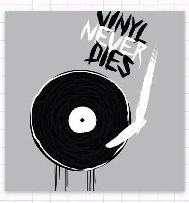"VINYL NEVER DIES Record LP Old School Music Rock Punk Cool 3"" Band Sticker"