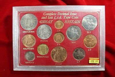 Complete Decimal Coinage Issue Set, Great Britain, Unc Coins, Type Coin Set,