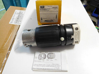 New Hubbell CS8165C twist-lock connector 50A 3 phase 480VAC 3 pole 4 wire ground