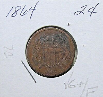 Nicer...1864  2 Cent Piece...VG+/F Mid Grade Details***Civil War***(7C)