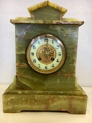 Rare Green French Onyx Marble Art Deco Mantel Clock Mantle Shelf