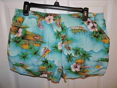 Vtg Pair Of 50/60s Hawaiian Outrigger Canoe Palms Huts Swim Trunks Shorts Sz Med