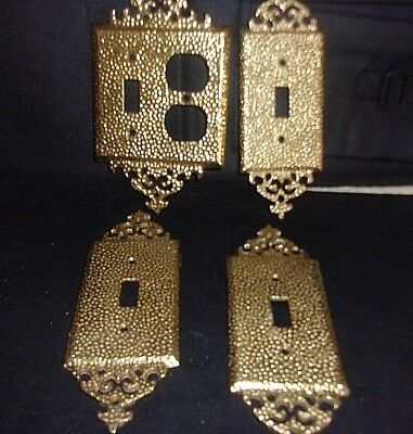 Vintage Lot of 4 Ornate Electric Wall Light Switches Plates Solid  bronze/Brass
