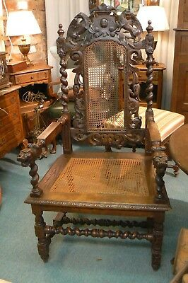 Antique Late 19Th Century Solid Oak Carve Barley Twist Large Carver Arm Chair