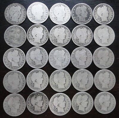 Barber  Quarters  -  Complete Set Of Years  -  1892-1916    -  25 Coins