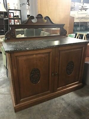 Antique Cupboard Cabinet with Marble Top and Mirror with Carved Detailing