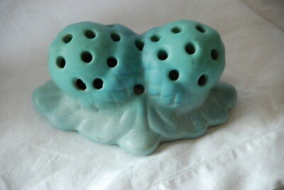 VAN BRIGGLE Turquoise Double Acorn Pottery Flower Frog Colorado Springs Art Craf