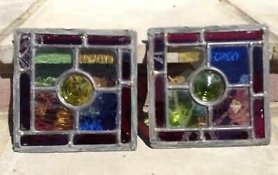 Two Old Coloured Stained Glass Panels 17.5 x 17.5 Green, Red, Blue, Yellow