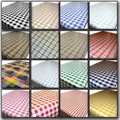 Gingham Checkers Wipe Clean Tablecloth Oilcloth Vinyl Table Cover PVC