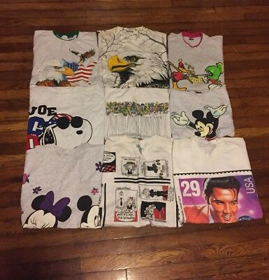Vintage T-Shirt Lot 80s/90s Single Stitch Made In USA 50/50 Snoopy Mickey