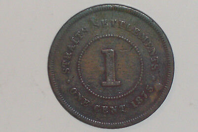 1 Cent 1875 Queen Victoria Straits Settlements Selten RAR