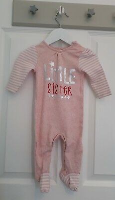 Baby girls F&F Little Sister babygrow size 0-3 months pink