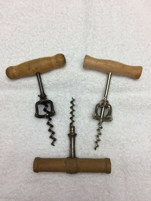 Vintage  Wooden Handle Corkscrew Set of 3