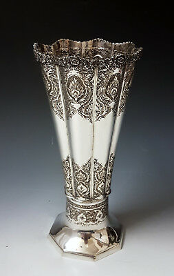 Antique Persian Islamic Middle Eastern Solid Silver Hand Chased Signed Vase 343g