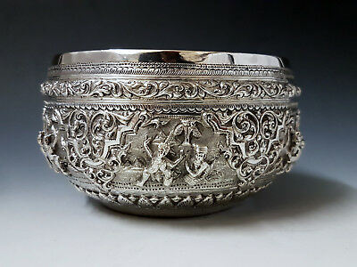 Fine Antique Indian Burmese Islamic Persian South East Asian Solid Silver Bowl