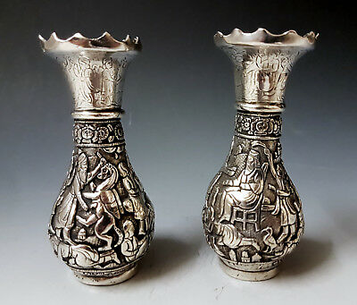 Antique 19thC Fine Persian Islamic Middle Eastern Hand Chased Solid Silver Vases