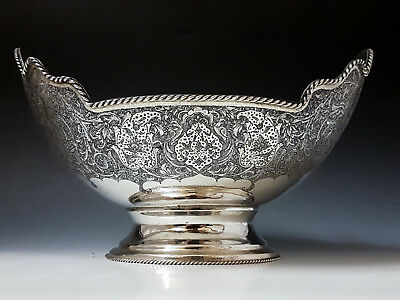 Antique Persian Islamic Middle Eastern Hand Chased Solid Silver Signed Bowl 662g