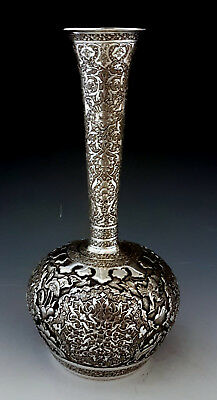 Finest Antique Persian Islamic Middle Eastern Hand Chased Solid Silver Vase 256g