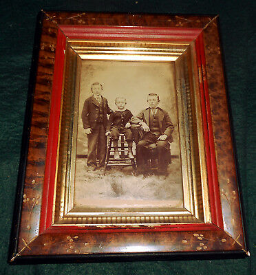 Antique Victorian 1870s or 1880s Eastlake Frame w/ Cabinet Card Photograph Boys