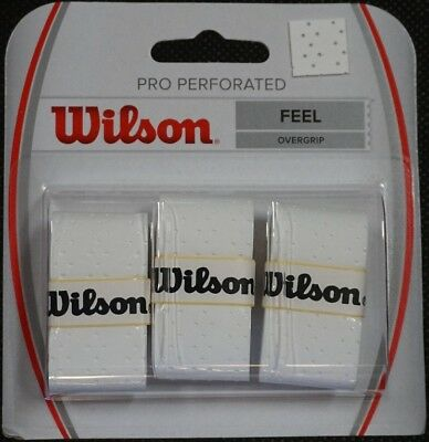 NEW Wilson Pro Perforated  Overgrip  3 Pack - White