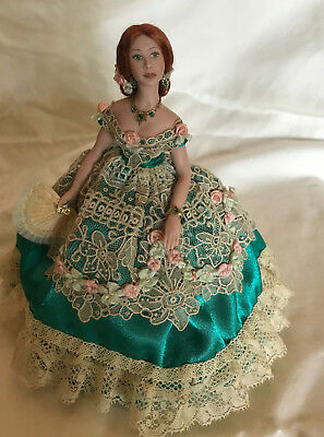 OOAK Beautiful Miniature Southern Belle Lady Doll, Gorgeous Redhead