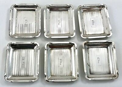 Vintage Sterling Silver Personal Miniature Place Setting Ashtrays Set 6