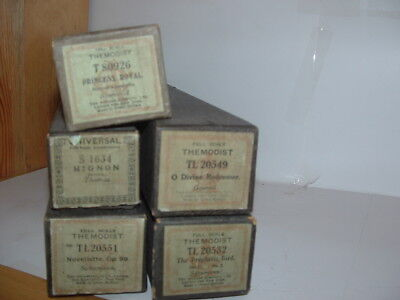5 Vintage Music Rolls For Pianola Piano. All Boxed