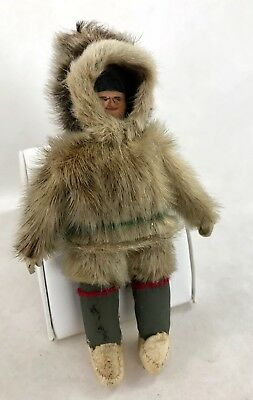 Handmade Vintage Native Inuit Doll of Man w Fur Clothes Made in Labrador Canada
