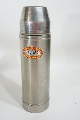 Vintage Stainless Steel Uno-Vac Travel Coffee Unbreakable Thermos USA Union