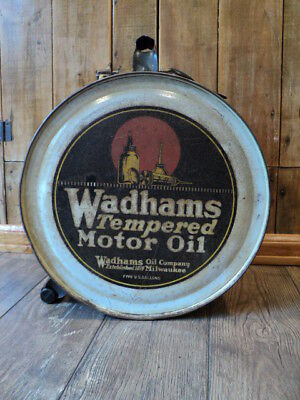 Vintage Wadhams Tempered Motor Oil 5 Gallon Rocker Can - Mobil Gas Station Sign