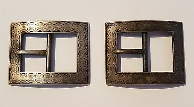 BEAUTIFUL rare early Georgian 18th century solid sterling silver shoe buckles