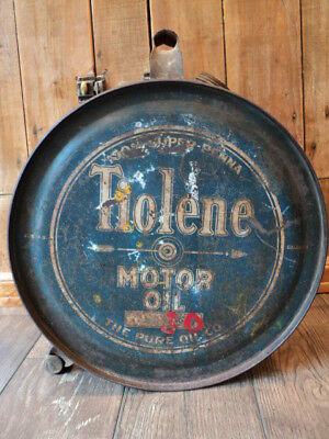 Vintage Pure Tiolene Motor Oil 5 Gallon Rocker Can - Gas Service Station Sign