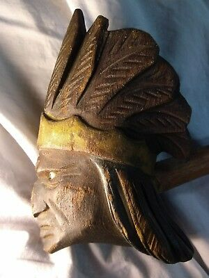 """Awesome 1800s 42"""" hand-carved Indian Head peace pipe with glass eyes"""