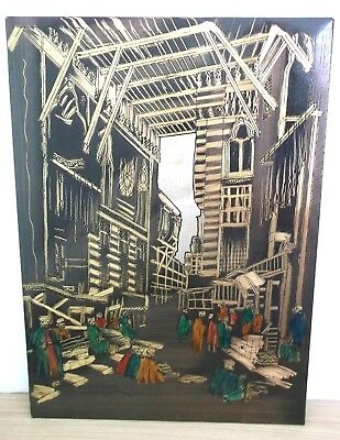 Vintage HAND COLOURED Brass Picture Plaque Egypt/ Morocco Covered Market Metal