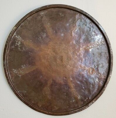 Large Middle Eastern Persian Hand Tooled Tinned Copper Tray: 26 inch diameter
