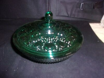 "VINTAGE Indiana Glass CONFECTIONS Evergreen Windsor Candy Box Bowl With Lid 7"" W"