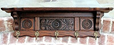 Antique French Oak Wall Shelf Kitchen Copper Pot Rack Hat Coat Rack Rosettes 39""