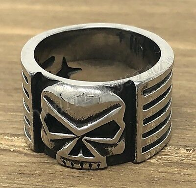 Men's Gothic Biker Motorcycle Skull Skeleton Wide Stainless Steel Ring Jewelry