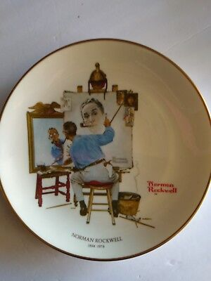 """Triple Self Portrait"" A Gorham Collector's Plate-Large Norman Rockwell"