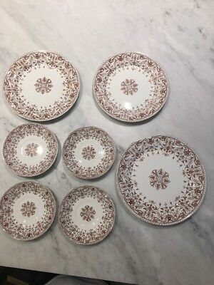 T&R Boote English Brown Transferware plates and saucers