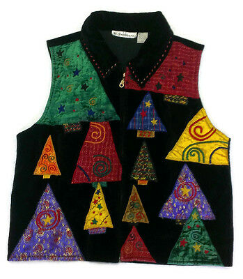 Dressbarn Velour Applique Ugly Tacky Christmas Tree Holiday Zip-Up Vest Size L